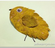 Dried leaf chicken craft