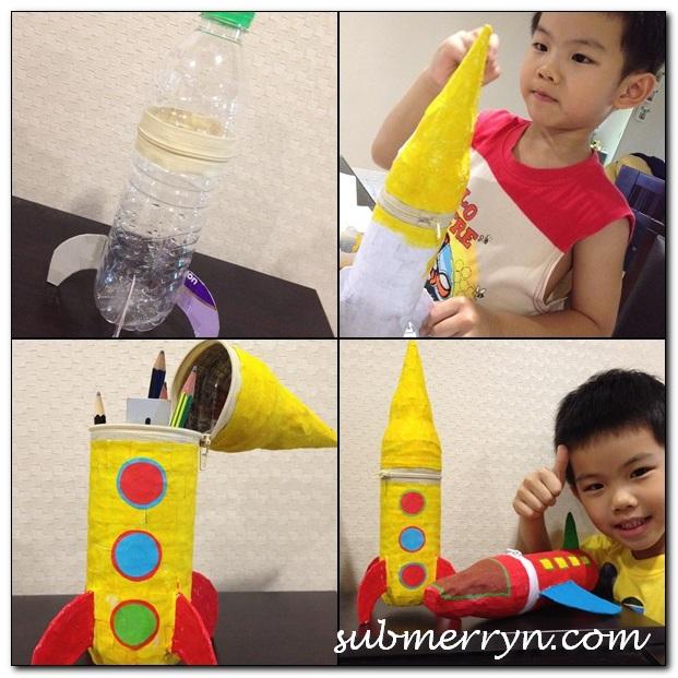 papier mache rocket pencil case