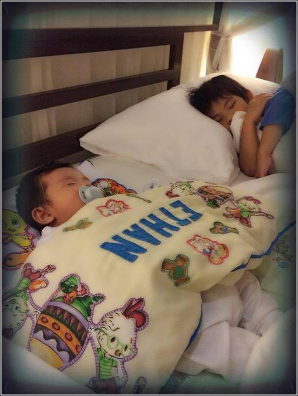 kids sleeping on vacation
