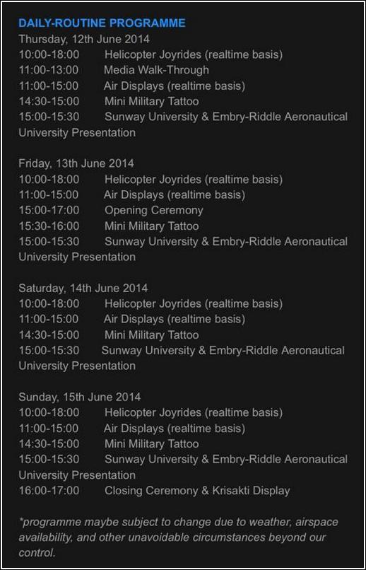 Subang International Air Carnival 2014_itinerary