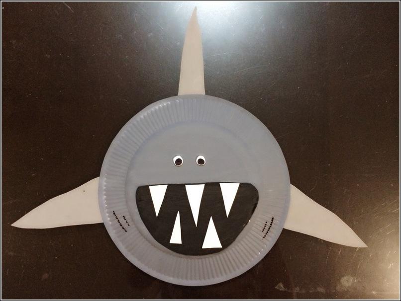 paper plate shark craft for kids 4