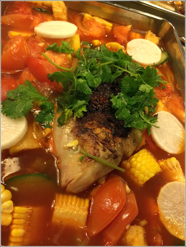 Ding Ding Grill Fish Steamboat with Sweet Corn and tomato broth private kitchen