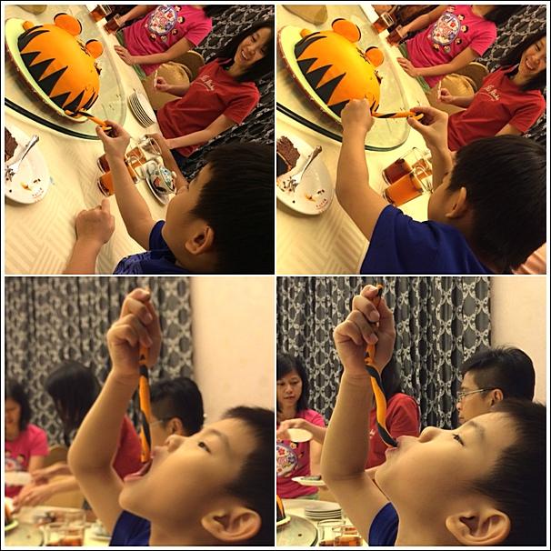 Ethan eating gumpaste tail