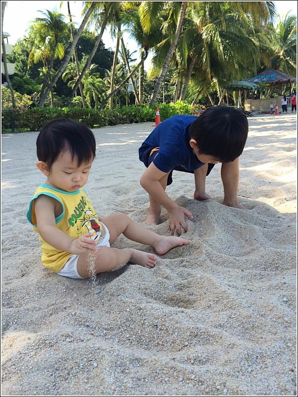 Rasa Sayang Shangri La Penang Beach Ayden and ethan sand
