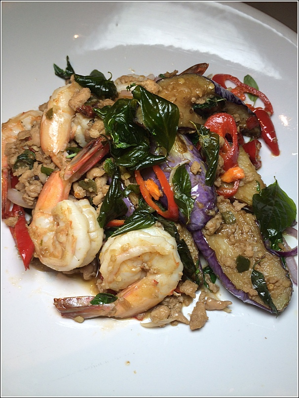 Barn Thai Stir Fried Eggplant with Minced Basil Chicken and Shrimp