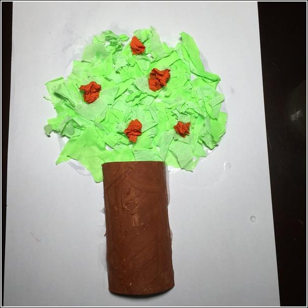 Toilet Paper Roll Apple Tree Craft