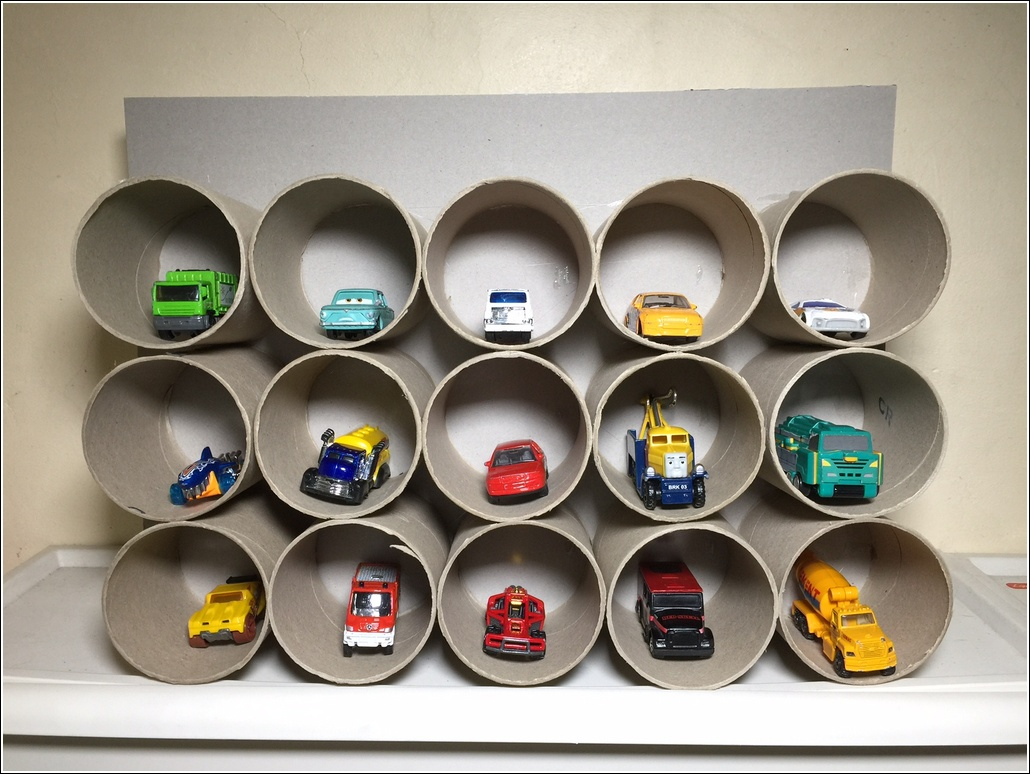 Toilet paper roll multi-storey car toy garage3