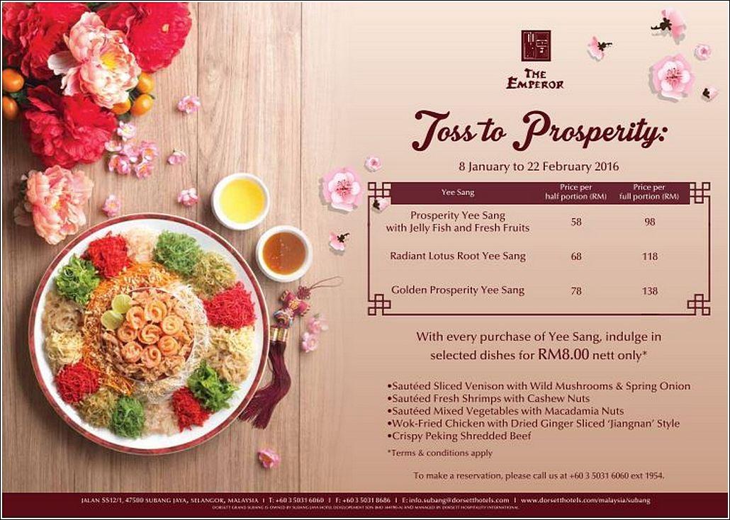 Dorsett Grand Yee Sang menu