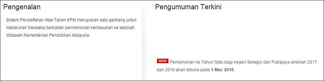 Permohonan ke Tahun Satu bagi Selangor dan Putrajaya