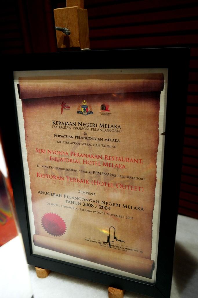 Restaurant Terbaik Melaka