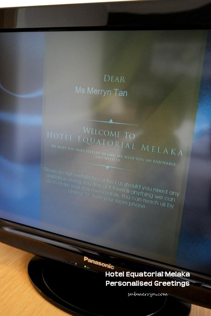 Hotel Equatorial Melaka personalised greetings